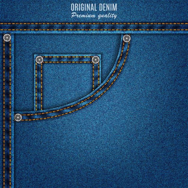 Blaue farbe der denimbeschaffenheit mit tasche und nieten, jeanshintergrund Premium Vektoren