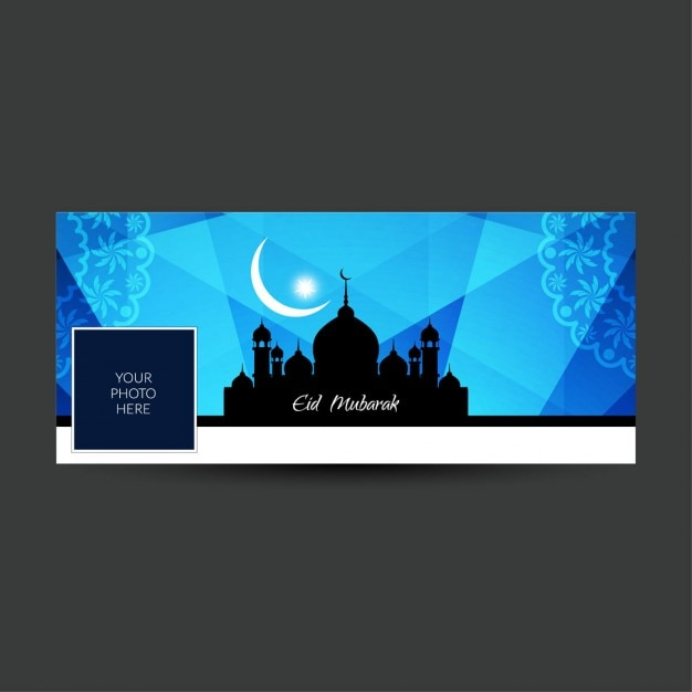Blaue farbe eid mubarak facebook timeline abdeckung Kostenlosen Vektoren