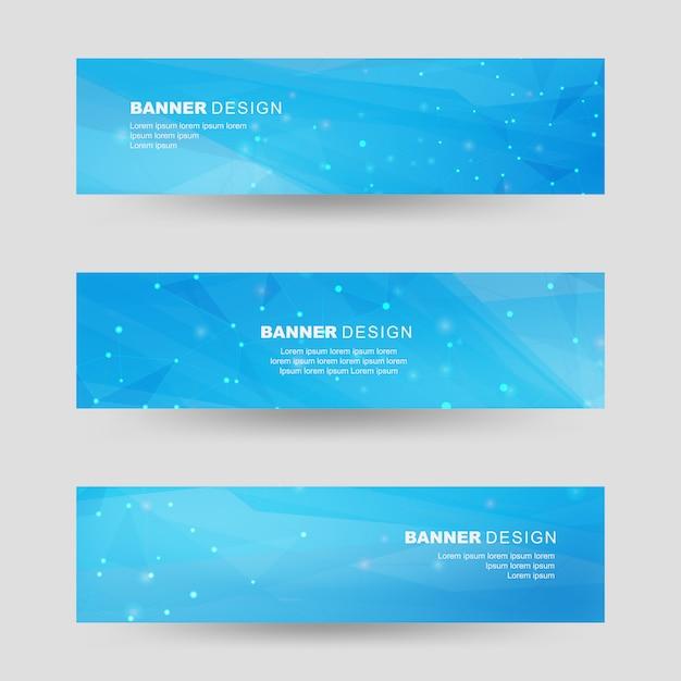 Blaue farbe polygonale formen banner set Premium Vektoren