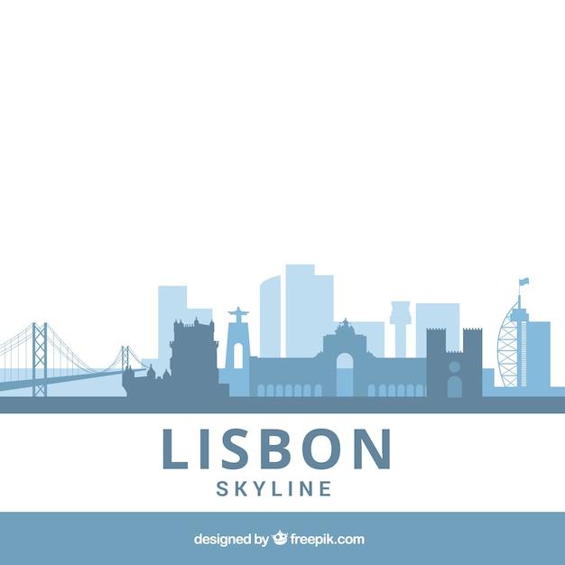 Blaue flache skyline von lissabon Kostenlosen Vektoren