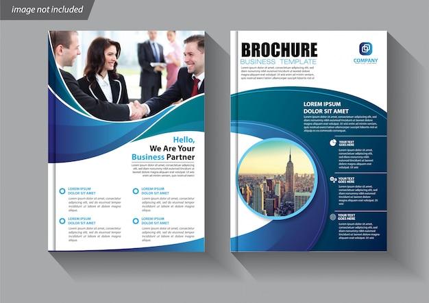 Blaue flyer business-vorlage für broschüre firma Premium Vektoren