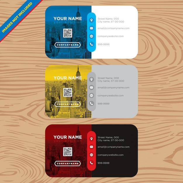 Blaue, gelbe und rote Visitenkarte Kostenlose Vektoren