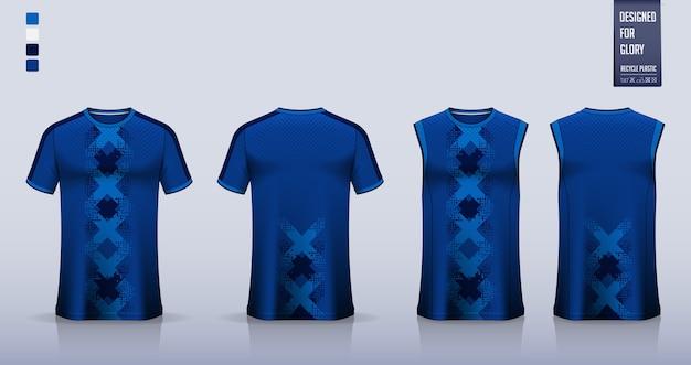 Blaue geometrische abstrakte t-shirt sportuniform Premium Vektoren
