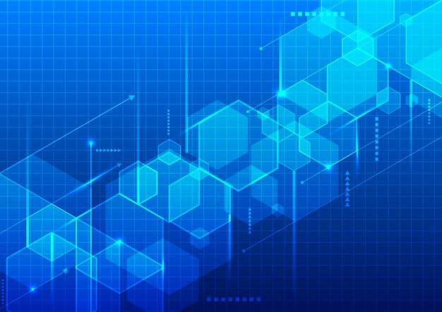 Blaue geometrische sechsecke der abstrakten technologie Premium Vektoren