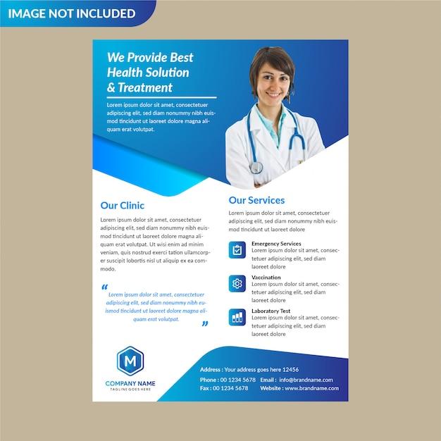 Blaue gesundheitswesen broschüre vorlage Premium Vektoren
