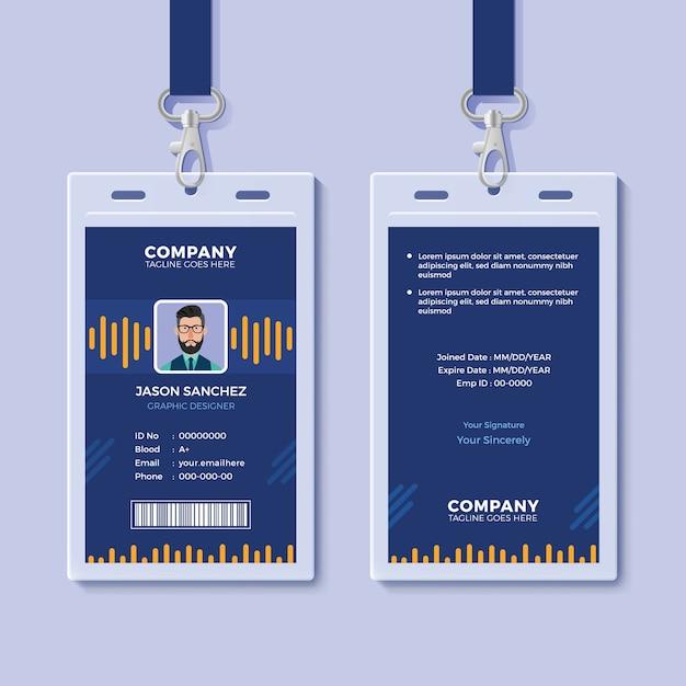 Blaue id card template mit gelben grafiken Premium Vektoren