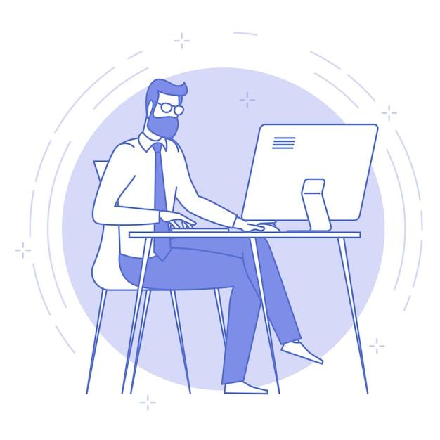 Blaue ikone der dünnen linie des jungen mannes, der im offenen raum arbeitet. Premium Vektoren
