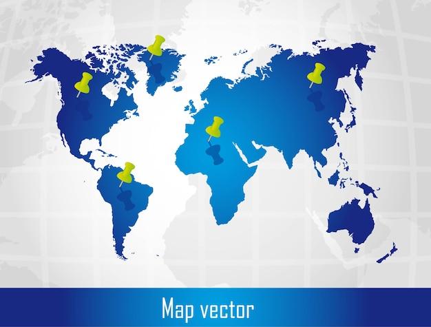 Blaue karte mit stoßstift über silbernem hintergrundvektor Premium Vektoren