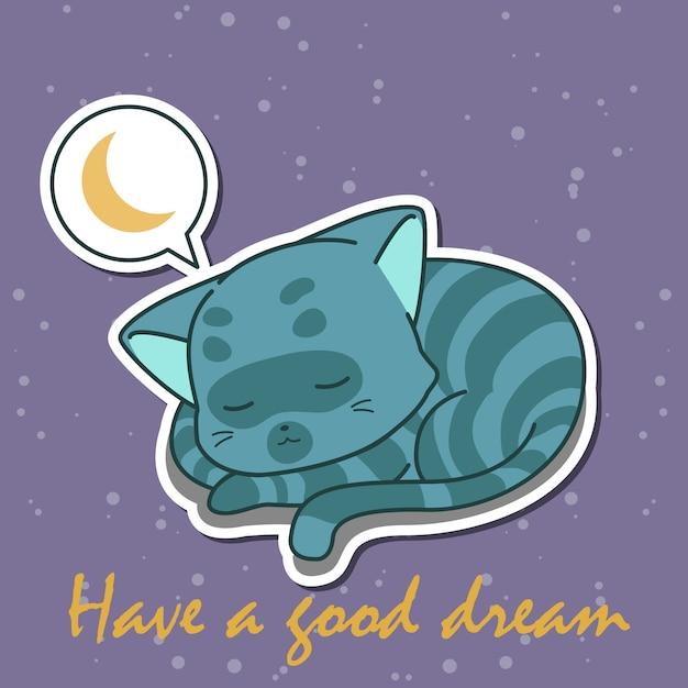 Blaue katze schläft in der nacht. Premium Vektoren