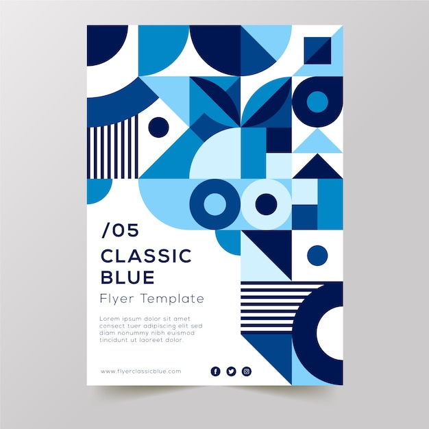 Blaue klassische formen entwerfen und weißer hintergrund mit textflieger Kostenlosen Vektoren