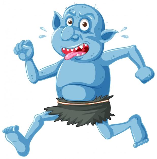 Blaue kobold- oder trolllaufhaltung mit lustigem gesicht in der zeichentrickfigur isoliert Kostenlosen Vektoren