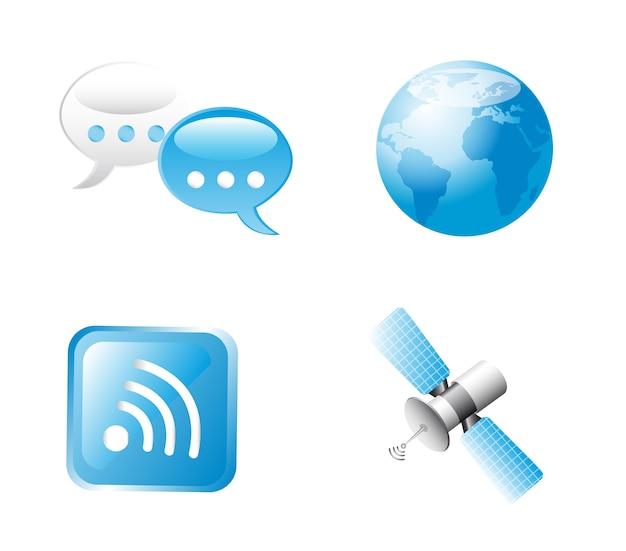 Blaue kommunikation unterzeichnen vorbei weiße hintergrundvektorillustration Premium Vektoren
