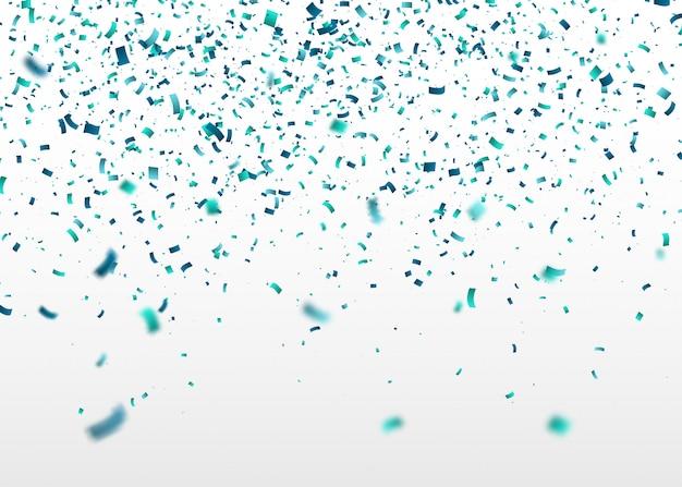 Blaue konfetti fallen nach dem zufallsprinzip. abstrakter hintergrund mit fliegenden partikeln Premium Vektoren