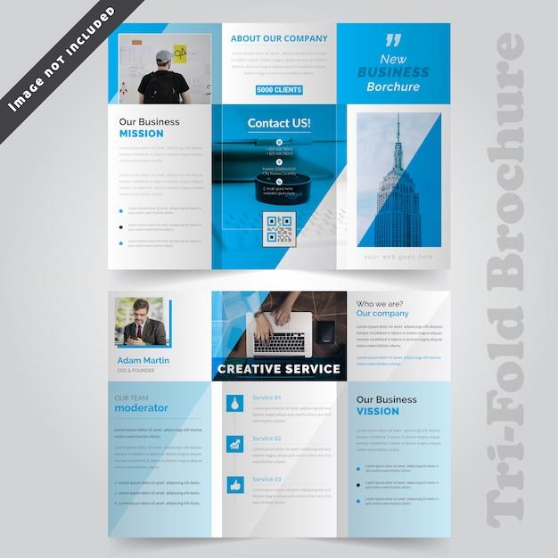 Blaue korporative dreifachgefaltete broschüren-vorlage Premium Vektoren