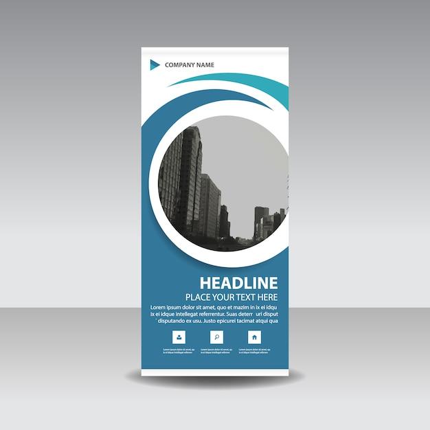 Blaue kreative Roll up Banner Vorlage Kreis Kostenlose Vektoren