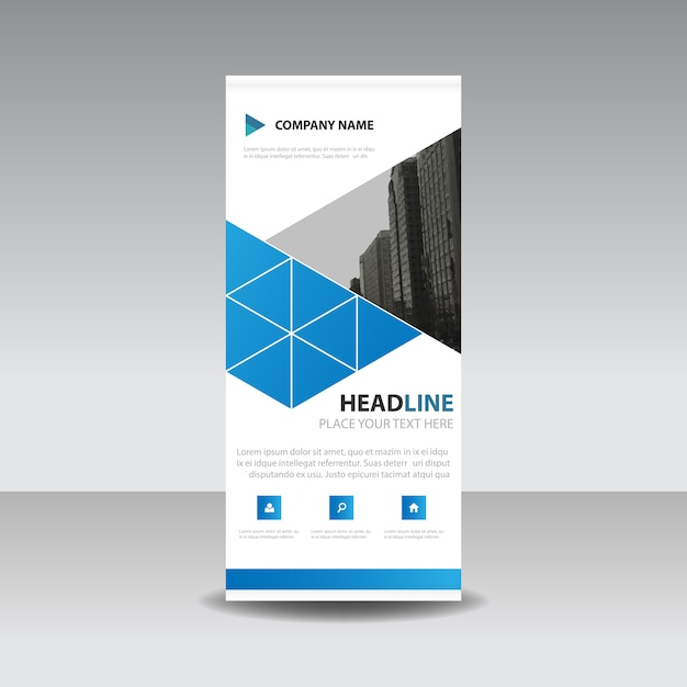 Blaue kreative Roll up Banner Vorlage | Download der kostenlosen Vektor