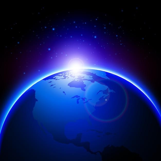 Blaue Kugel Erde mit Lichtreflexe über Himmel Hintergrund | Download ...