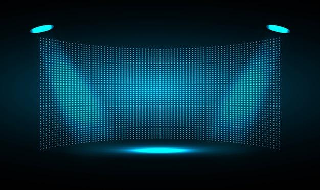 Blaue led-kinoleinwand für filmpräsentation. Premium Vektoren