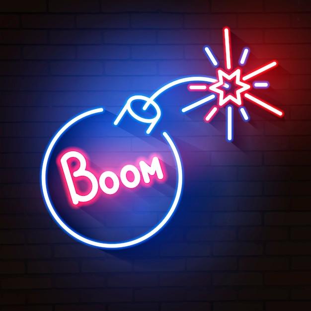Blaue leuchtende neonikone der bombe Premium Vektoren
