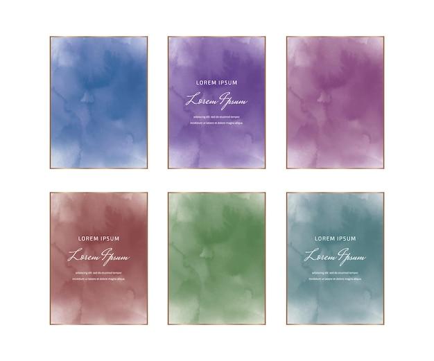 Blaue, lila, rote und grüne rechteckige aquarellrahmen Premium Vektoren