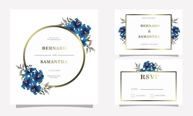 Blaue lili-blumenhochzeits-einladungskarte Premium Vektoren
