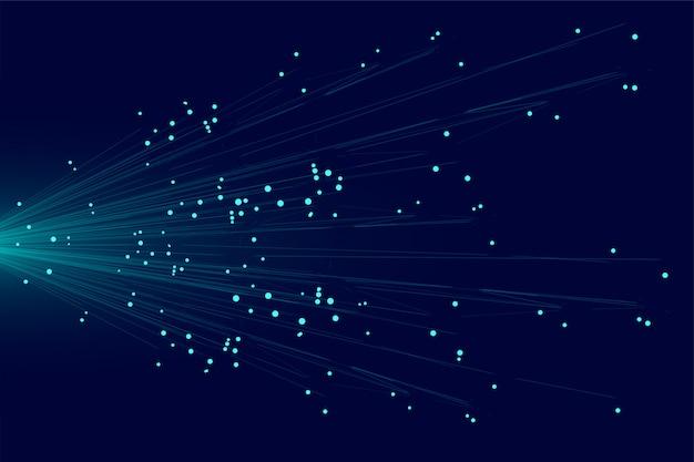 Blaue linien technologiehintergrund des abstrakten partikels Kostenlosen Vektoren