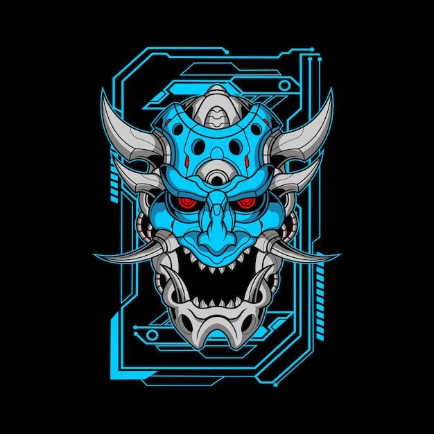 Blaue mecha oni illustration Premium Vektoren