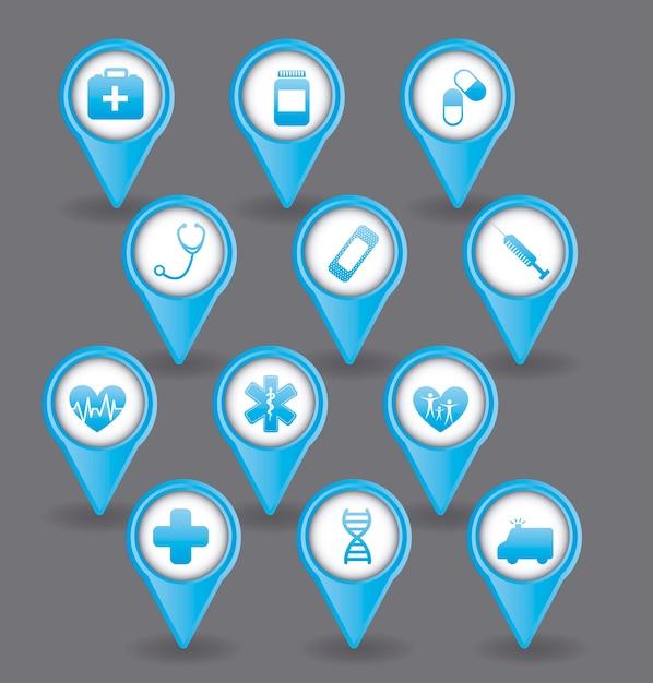 Blaue medizinische ikonen über grauer hintergrundvektorillustration Premium Vektoren
