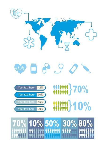 Blaue medizinische ikonen über weißer hintergrundvektorillustration Premium Vektoren