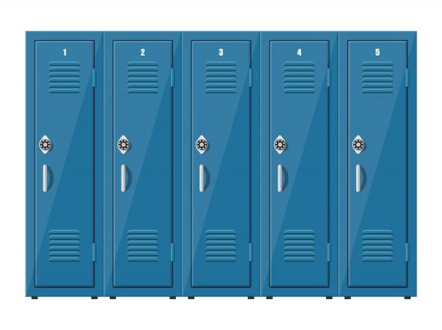 Blaue metallschränke. schließfächer in der schule oder im fitnessstudio mit silbernen griffen und schlössern. safe mit türen, schrank, fach. illustration im flachen stil Premium Vektoren