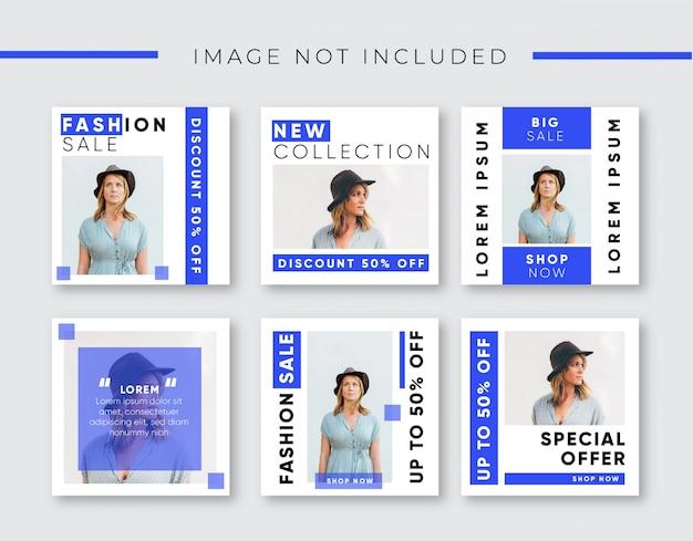 Blaue mode sale banner für instagram post Premium Vektoren