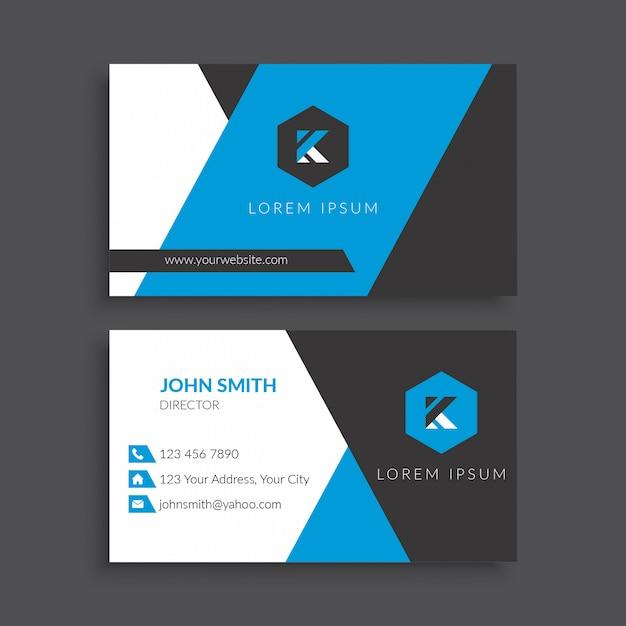 Blaue moderne visitenkarte-schablone Premium Vektoren