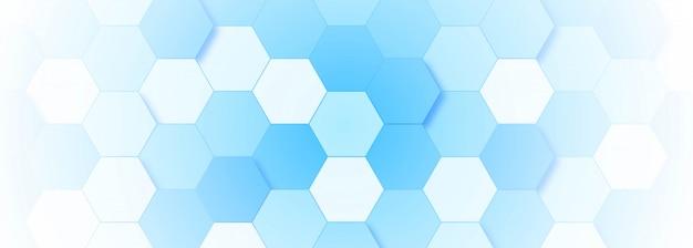 Blaue molekülstruktur-fahnenschablone Kostenlosen Vektoren