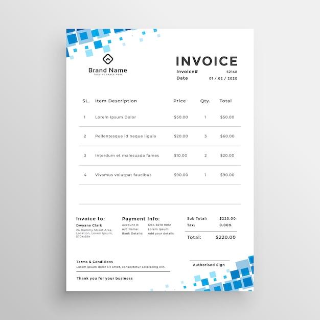 Blaue Mosaik Stil Business Rechnung Vorlage Download Der