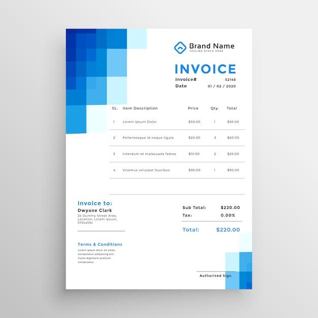 Blaue mosaik stil rechnung vorlage Kostenlosen Vektoren