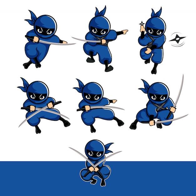 Blaue ninja-cartoon-sets mit schwert und dart Premium Vektoren