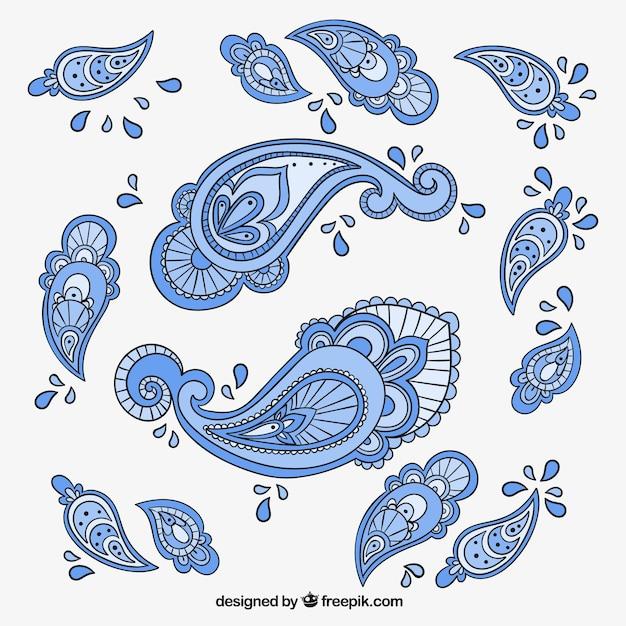 Blaue paisley-ornamenten Kostenlosen Vektoren
