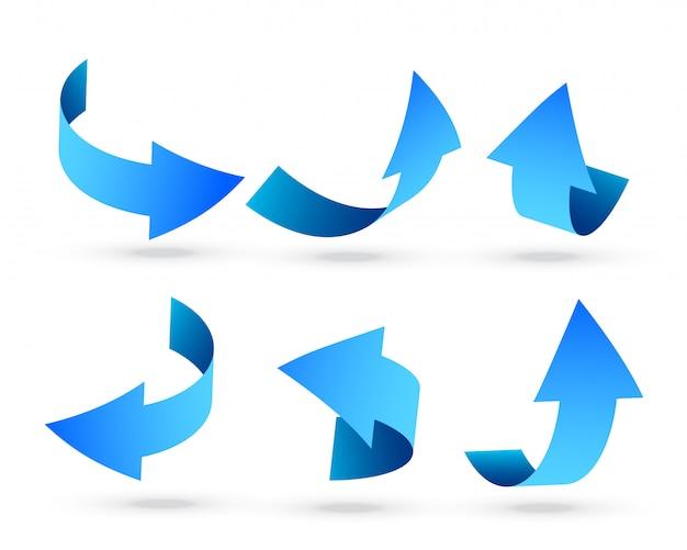 Blaue pfeile 3d eingestellt in verschiedene winkel Kostenlosen Vektoren
