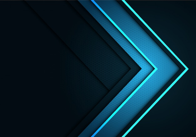 ฺ blaue pfeilrichtung auf grau mit sechseckmaschenmusterhintergrund Premium Vektoren