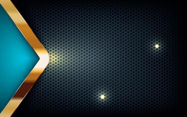 Blaue pfeilschicht auf dunklem hexagon mit goldener liste Premium Vektoren