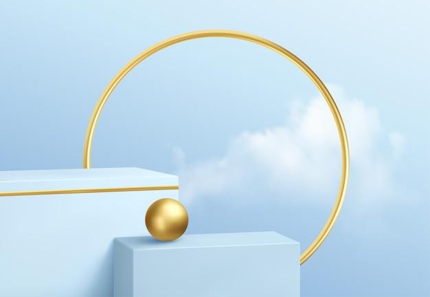 Blaue produktpodestschaufenster auf dem hintergrund des klaren himmels mit wolken und golddekoration. podium Premium Vektoren