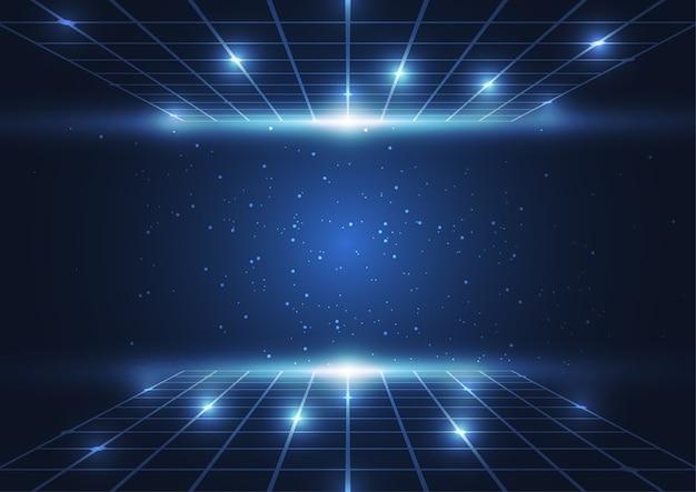 Blaue punkte der abstrakten digitaltechnik und linien hintergrund Premium Vektoren