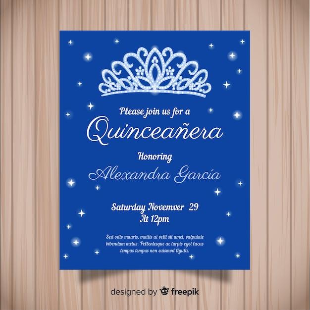 Blaue quinceañera party einladung Kostenlosen Vektoren