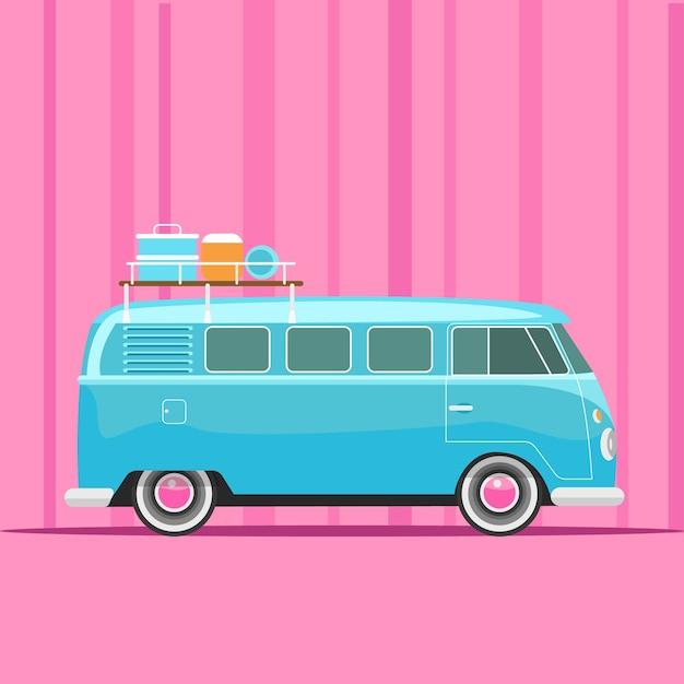 Blaue reisemobil-feiertags-vektor-illustration Premium Vektoren