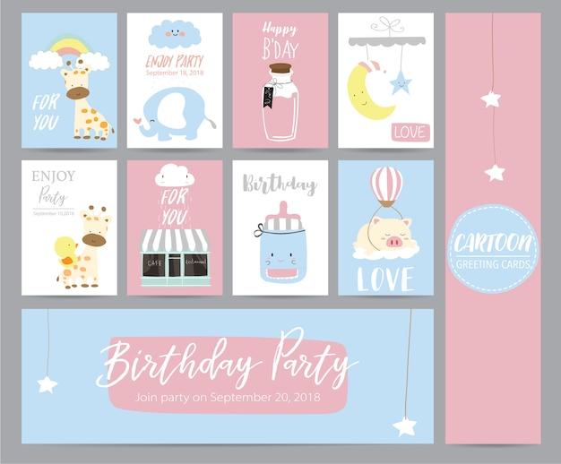 Blaue rosa pastellgrußkarte mit girafffe, café, mond, elefanten, stern und schwein Premium Vektoren