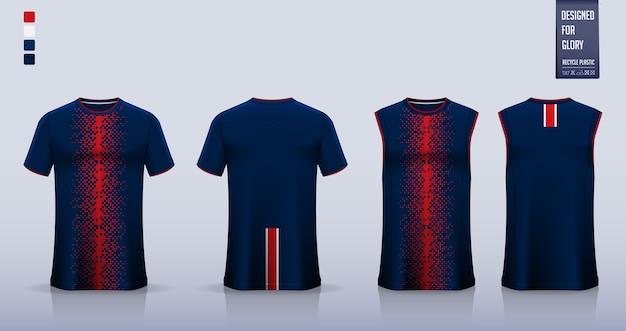 Blaue rote geometrische abstrakte t-shirt sportuniform Premium Vektoren