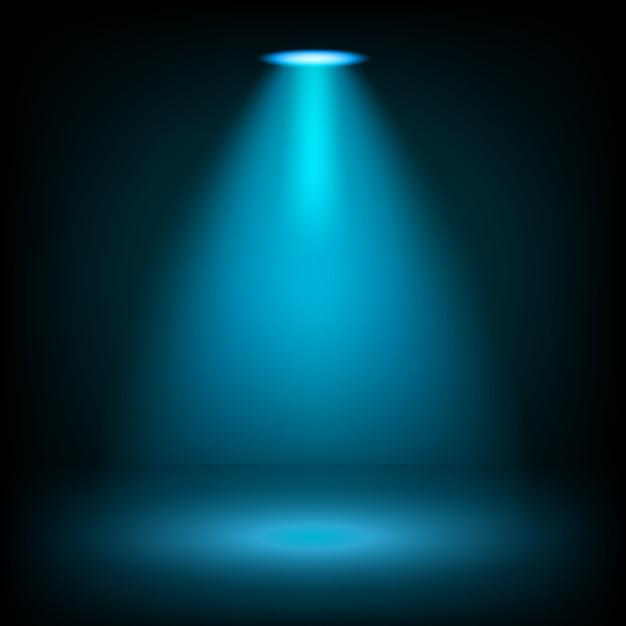 Blaue scheinwerfer, die auf transparentem hintergrund glänzen Premium Vektoren