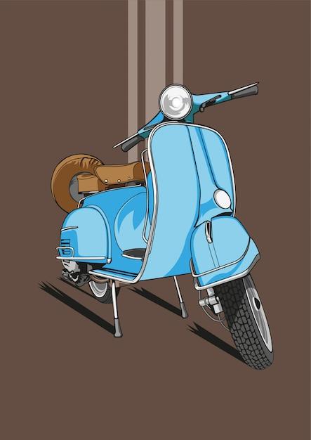 Blaue scooter wallpaper Premium Vektoren