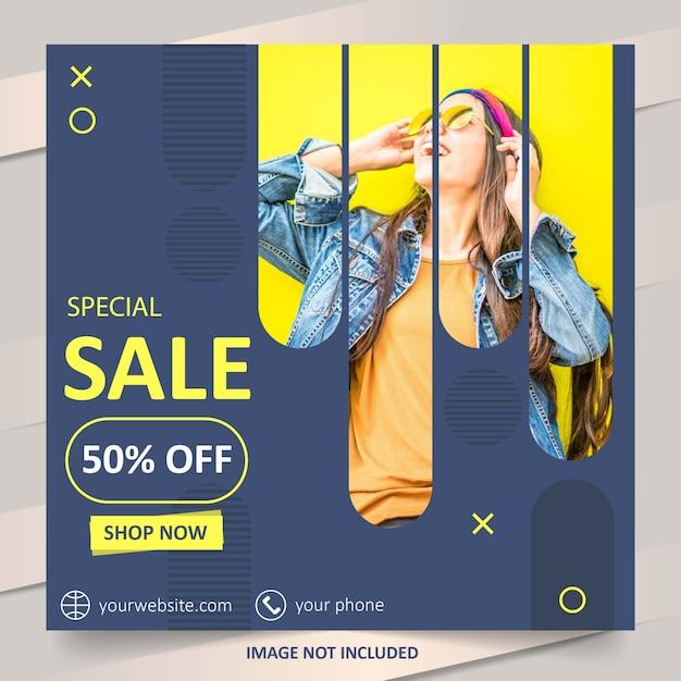 Blaue social media mode verkauf banner vorlage Premium Vektoren