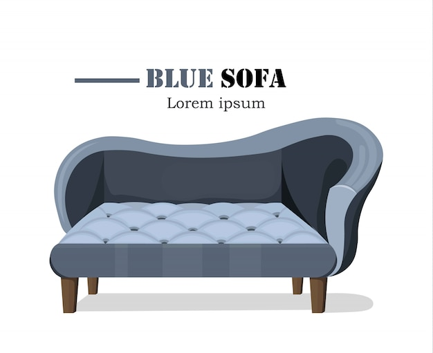 Blaue Sofa Möbel Illustration. Moderne Designs Premium Vektoren